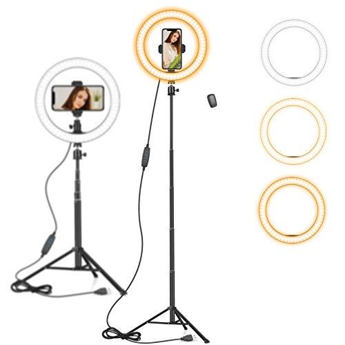 10 Zoll LED Ringlicht mit 59 Zoll Stativständer & Handyhalter, Dimmbare Tischringlicht für...
