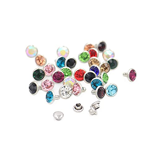 Clong01 Duradero 100SETS Mix Color 6mm / 8mm Cristales Rhinestone Remaches Diamond Studs para Remaches de Bricolaje de Lateralización para Cuero para la reparación de artesanías (Size : 8mm)