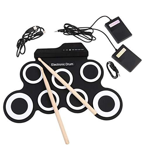 WEARRR Conjunto de Instrumentos de percusión electrónica Plegable de la Mano de la Mano del Rollo de la Mano de Silicona Kit de la Almohadilla del Tambor eléctrico con los palitos del Tambor Pedal
