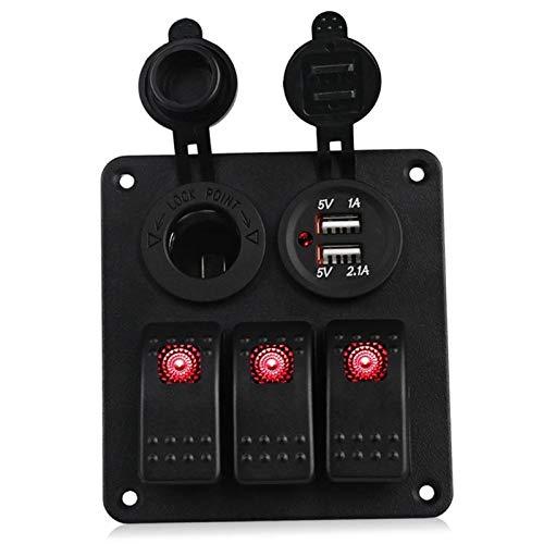 MTnoble Interruptores de automóviles y relés DUAL USB Cargando 6 Panel de interruptor de control de balancín de alterno 12 V ~ 24V Interruptor de sobrecarga del interruptor de sobrecarga del automóvil