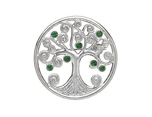 Biddy Murphy Irish Brooch Tree of Life Silver Plated & Green CZ Made in Ireland