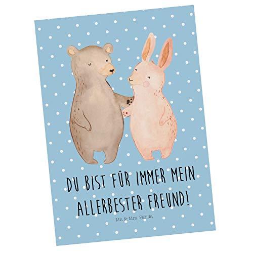 Mr. & Mrs. Panda Karte, Einladung, Postkarte Bär Hase Umarmen mit Spruch - Farbe Blau Pastell