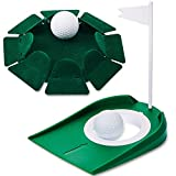 Skylety 2 Pieces Golf Putting Cup Includes 1 All-Direction Putting Cup and 1 Plastic Putting Cup with Adjustable Hole and White Flag Golf Training Hole Practice Cup Aid for Indoor and Outdoor