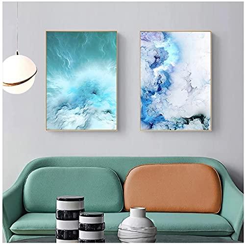QIAOZ Arte de Pared, póster de Lienzo Abstracto Moderno, Pintura de Olas de mármol Azul, Carteles nórdicos e Impresiones, Cuadros de Pared sin Marco