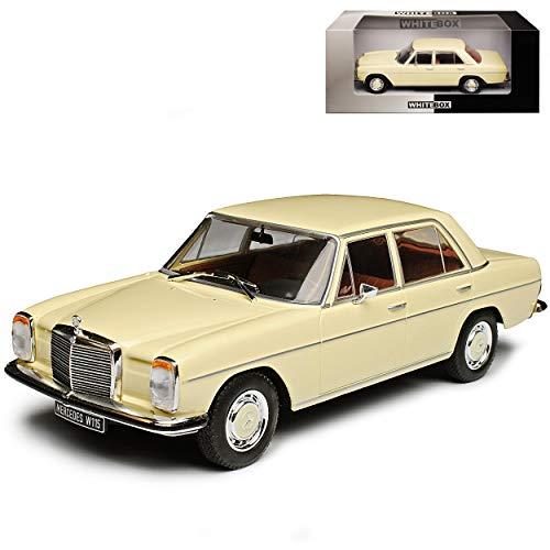 WHlTEBOX Mercedes-Benz 200 /8 Strich Acht Limousine Beige Weiss W114 W115 1967-1976 1/24 Whitebox Modell Auto mit individiuellem Wunschkennzeichen