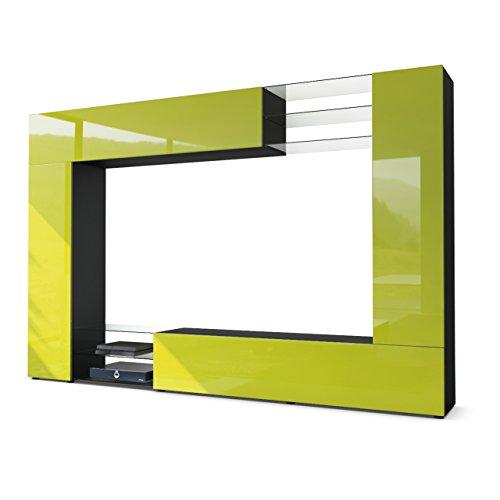 Vladon Mirage, combinación de pared, cuerpo en negro mate / frentes en verde claro brillante
