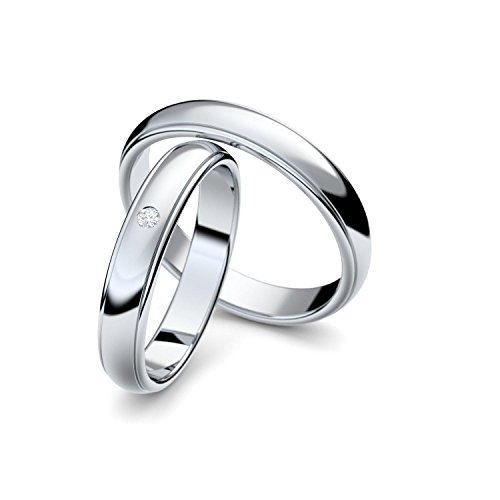 Eheringe Verlobungsringe Trauringe Freundschaftsringe Silber 925 mit Zirkonia Stein inklusive Luxus-Etui Ringpaar Partnerringe Hochzeitsringe Paar-Preis nickelfrei klassisch ER88SS925ZIFA-5670