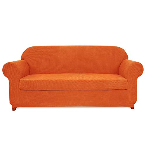 Subrtex 2-Piece Spandex Stretch Slipcover (Sofa, Orange)