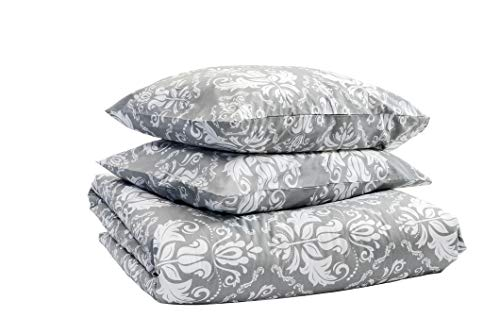 Marsala Home Kingsize Duvet Cover Grey Bedding Set 100% Cotton Damask Printed 3 Pcs with Pillowcases Soft Quilt Cover Set (Olba Grey King Size)