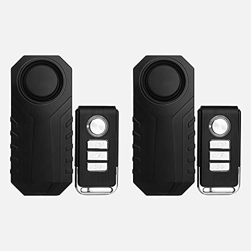 ELCIEEI Wireless Vibration Alarm, Remote Waterproof 2 Sets of Anti-Theft Alarm, Bicycle/Motorcycle/Vehicle Safety Vibration Motion Sensor Alarm System, Scooter Accessories Vibration Sensor