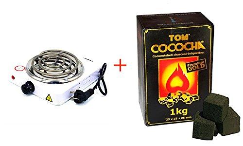 FumandoEspero ¡Pack Especial! Hornillo Eléctrico + Carbón Natural para Shisha Tom Cococha Gold 1kg