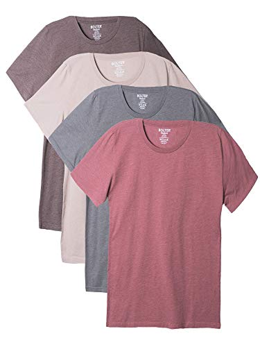Bolter 4 Pack Men's Everyday Cotton Blend Short Sleeve T-Shirts (Medium, Earth Tones)