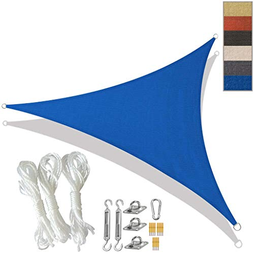 Sun Shade Sail Triangle with Fixing Kit Water Resistant Sunscreen Canopy Waterproof Awning UV Block for Outdoor Garden Patio Party Sunsail (Color : Blue, Size : 6x6x6m)