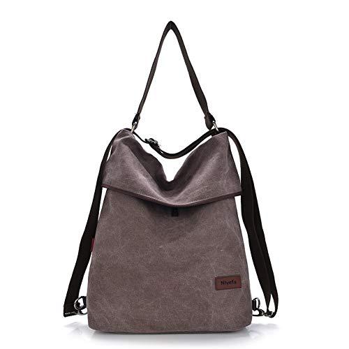Nlyefa Damen Handtasche Rucksack Canvas Tasche Umhängentasche Schultertasche 2 in 1 Multibag, EINWEG