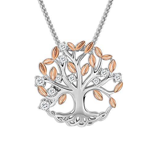 THEHORAE Cadeaux de fête des mères Collier Pendentif pour Femme Or Rose Arbre de Vie des Pendentif Bijoux Cadeau d'anniversaire