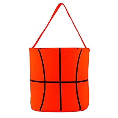 E-FirstFeeling Basketball Basket Easter Basket Easter Hunt Bag for Kids Candy Gift Bucket Tote Christmas Bag (Basketball)