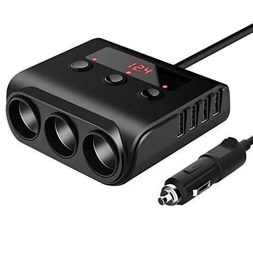 Laimiko Cigarrillos 12V / 24V Encendedor del Coche Adaptador de Cargador de Coche 100W con 4 Puertos USB y 3 Enchufes de Mechero Divisor de Potencia,Encendido/Apagado Pantalla de Voltaje