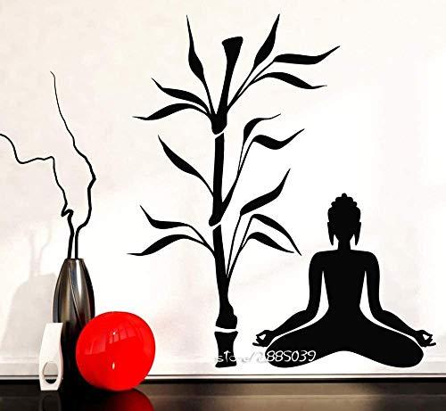 57X71Cm Buda Y Bambú Árbol Pegatinas De Pared Vinilo Yoga Estudio Decoración...