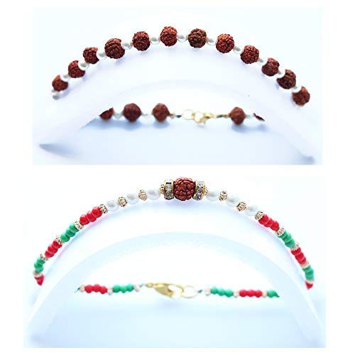 Affordable Set of 2 Rudraksha Rakhi Bracelet for Brother and Bhabhi Beautiful Designer Pearl Rakhi f...