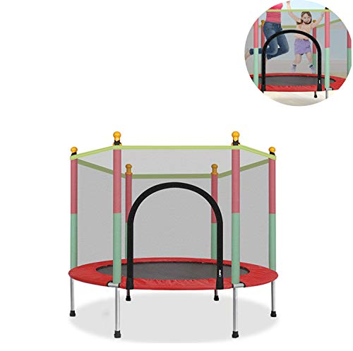LIN Children's Trampoline with Special Net, Poles, Spring Pad, Jumping Mat and Durable Springs, Outdoor Indoor Trampoline Suitable for Kids