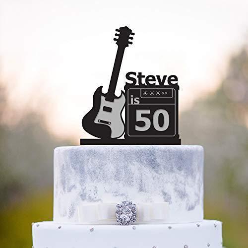 Tortenaufsatz für Geburtstagskuchen, Gitarre, Geburtstagskuchendekoration, Rockstar 50. Geburtstag, Rockstar