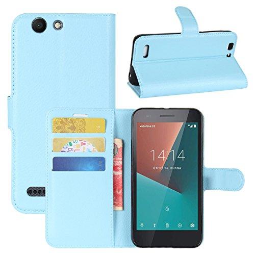 HualuBro Vodafone Smart E8 Hülle, [All Aro& Schutz] Premium PU Leder Leather Wallet HandyHülle Tasche Schutzhülle Hülle Flip Cover für Vodafone Smart E8 Smartphone (Blau)