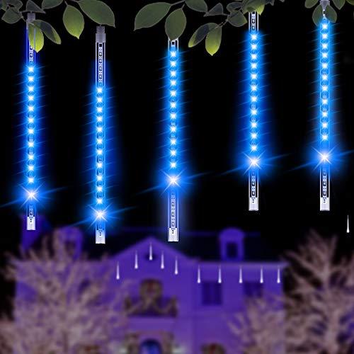 Minger 30 CM 8 tubi Bercy Doccia Pioggia Luci 144LEDs Stringa Esterna Impermeabile per Natale Matrimonio Partito Albero Decorativo, Decorazione di Alberi Lungo le Strade (Blu)