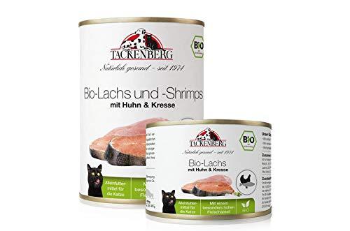 Tackenberg Katzenfutter, Nassfutter, 100% Bio Lachs + Shrimps + Huhn + Kresse, Premium Dosenfutter (6 x 200g - 24 x 800g)