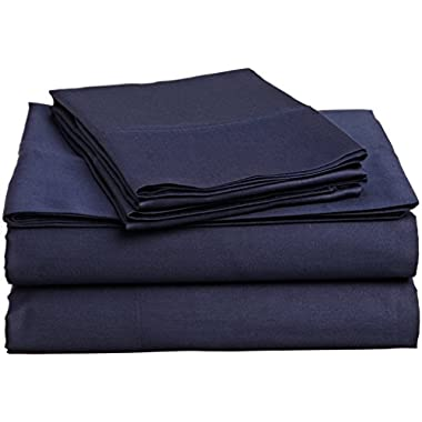 #1 Bed Sheet Set - HIGHEST QUALITY 100% Egyptian Cotton 800 Thread-Count Queen Size Wrinkle, Fade, Stain Resistant - 4 Piece 16  Drop -By Rajlinen  (Navy Blue Solid, Queen)