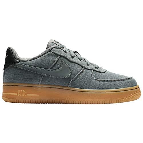 Nike Jungen AIR Force 1 LV8 Style (GS) Fitnessschuhe, Mehrfarbig, grau, braun, flach, Pewter, Gum Med Brown 002, 35 2/3 EU
