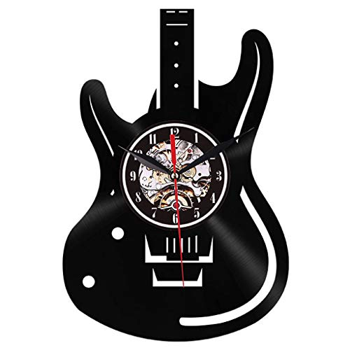Zarupeng creatieve gitaar wandklok niet-tikkend keukenklok acryl 3D DIY klok geluidloze wandklokken Home Office woonkamer slaapkamer decoratie