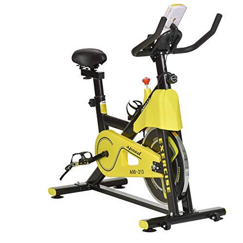 homcom Cyclette Professionale per Persone 120-185cm con Sellino e Manubrio Regolabili, Schermo LCD, Supporto Smartphone