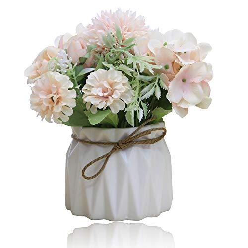 Snowve Künstliche Blumen mit Vasen - Rosen Deko Blumen künstlich Blumen in Vasen Hochzeit Sträuße/Home Dekor/Party/Graves (Rosa Rosen)