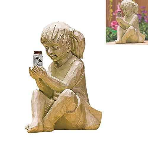 Niños con luciérnagas solares Estatuas de jardín, jardín esculturas para niños con luciérnagos con luciérnica de luciérnaga, chico, chico, chico, estatua, patio caprichoso, jardín, jardín, decoración