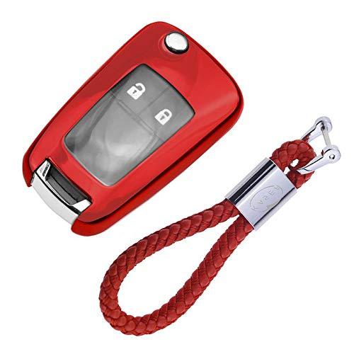 Autoschlüssel Hülle für Opel Chevrolet – Cover TPU Silikon Hochglanz Schutzhülle Schlüsselhülle für Chevrolet Aveo Opel Corsa Zafira Mokka (Rot)