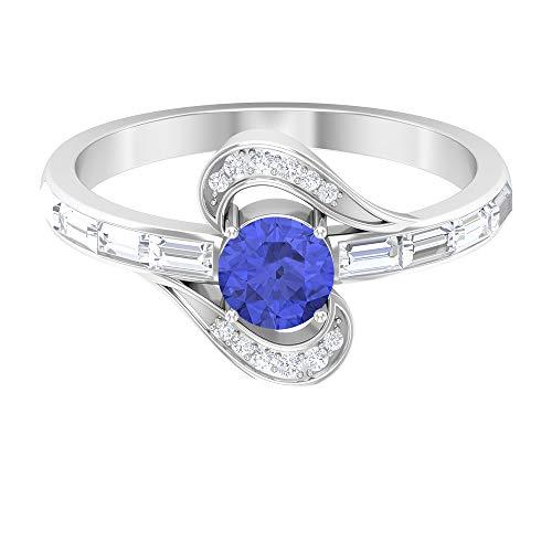 Rosec Jewels 14 quilates oro blanco redonda baguette Blue Tanzanita creada en laboratorio Diamond