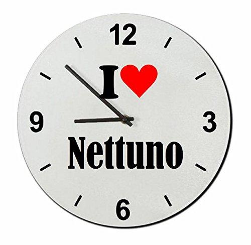 Druckerlebnis24 Glasuhr I Love Nettuno eine tolle Geschenkidee die von Herzen kommt| Wanduhr| Geschenktipp: Weihnachten Jahrestag Geburtstag Lieblingsmensch