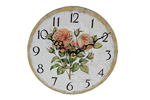 Mini Standuhr für Schrank & Tisch - Rosen Postage - d=13cm - Vintage Uhr Rose