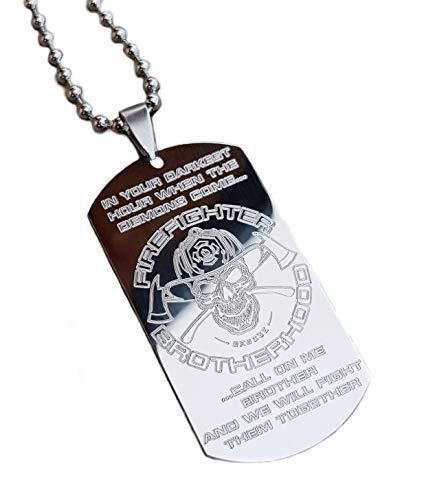 Real Bullet Design Dog-Tag Firefighter Brotherhood In Your Darkest Hour When The Demons Come.Feuerwehr Halskette + Namensgravur !GRATIS!