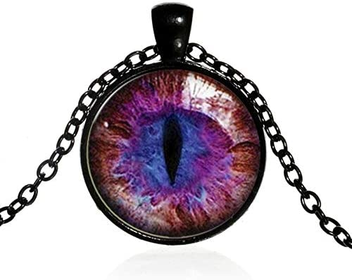 KANTAN88 Dragon Eyes Necklace Evil Eye Round Clear Glass Cabo chon Time Gem Handmade Necklaces Pendants Personality Gothic Jewelry