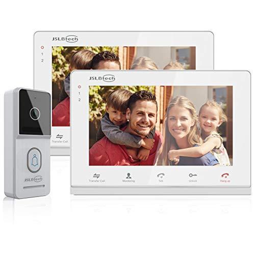 JSLBTech Videoportero 7 Pulgadas Timbre Video Sistema Intercomunicador con Versión Nocturna IR, Desbloqueo Remoto Compatible, Monitoreo, Grabación Automática/Instantánea,2-Monitors 1-Cámara