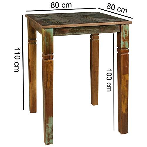 KS-Furniture Kalcutta Table de bar en bois massif pour 4 personnes 80 x 80 x 110 cm