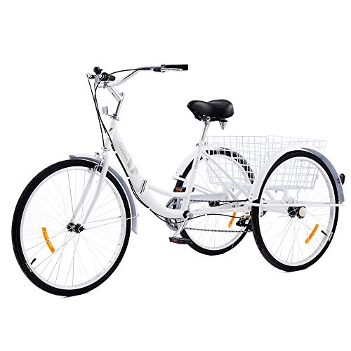 Viribus 7-Speed Adult Tricycle with Carbon Steel Frame   Folding Tricycle with Large Bike Basket   Adult Trike Bike for Women Men Errands Exercise Mobility and Fun Folding Trike (White, 24'/7-Speed)