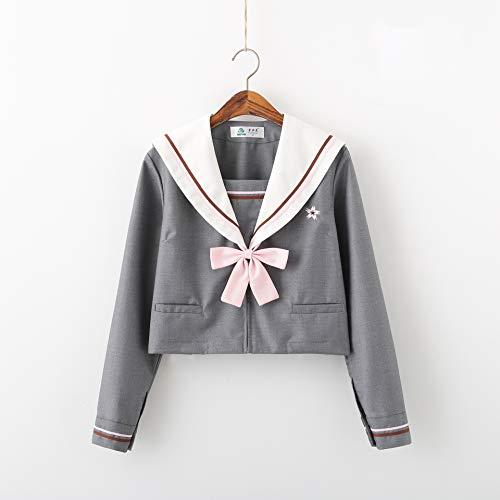 DRGE Japanischer JK Uniform Mädchen Matrosenanzug Gestickter Matrosenanzug Langarm Bluse Verstellbares Kleiderset,XL