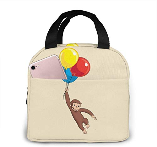 Lunch Bag, Insulated Lunch Tote Box, Curious George Portable Lunch Bag Insulated Lunch Box Camping Bag for Work School Travel