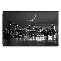 モダンな黒と白の壁アート橋風景ポスターとプリントキャンバス絵画写真リビングルーム壁アートプリント60x90cmフレームレス