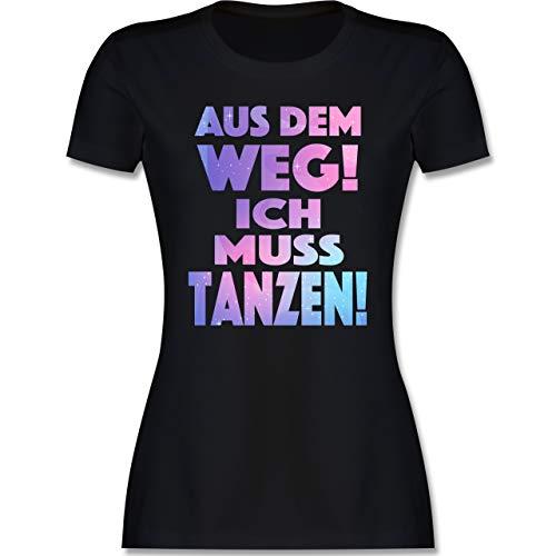Festival - Aus dem Weg! Ich muss tanzen! - S - Schwarz - Festival Tshirt Damen - L191 - Tailliertes Tshirt für Damen und Frauen T-Shirt