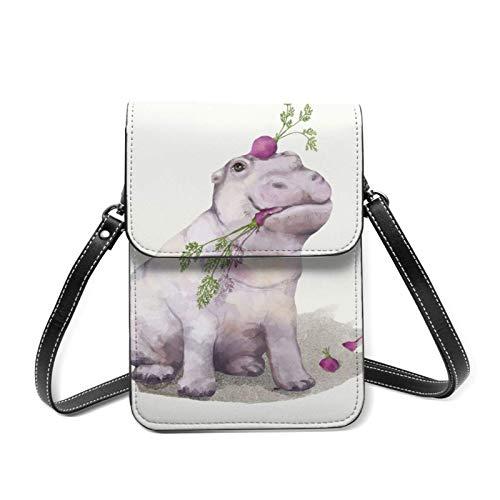 Bolso para el teléfono celular de hipopótamo ligero para las mujeres con bolsillos espaciosos