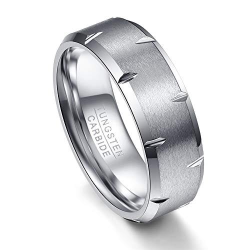 Vakki Ring Herren 8mm Hartmetall Versprechen Ringe Cool Band Ring Matt Finish Abgeschrägte Kante Unisex 57(18.1)