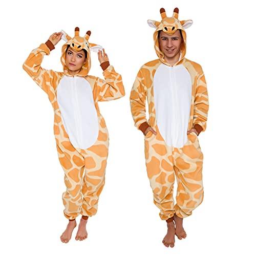 Silver Lilly Slim Fit Animal Pajamas - Adult One Piece Cosplay Giraffe Costume (Orange/White, Medium)
